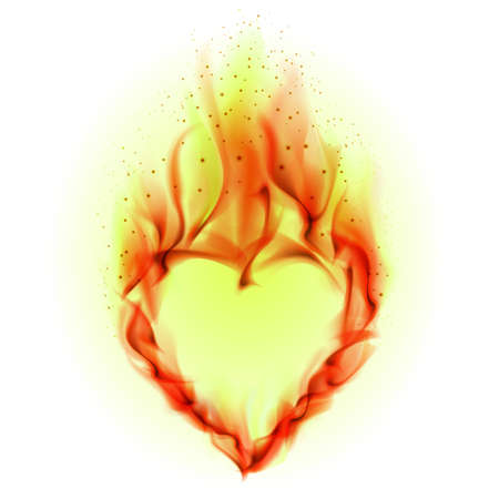 Heart in Fire. Illustration on white background for design illustration
