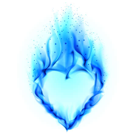 Heart in blue fire. Illustration on white background for design illustration