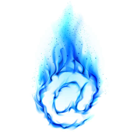 blue flame: Abstract symbol of AT. Blue Flame-simulated on white background.  Stock Photo