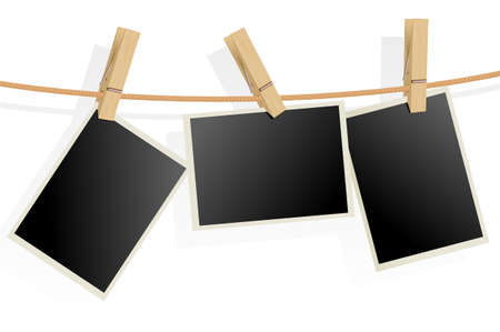 clothes peg: Three Photo Frames on Rope. Illustration on white background