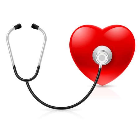 estetoscopio corazon: Estetoscopio y corazón. Ilustración sobre fondo blanco