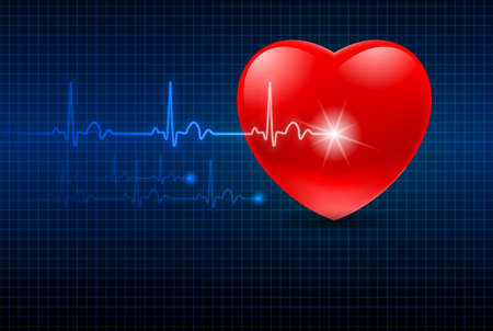 Abstract Heart Monitor on a Dark Blue Background  Ilustrace