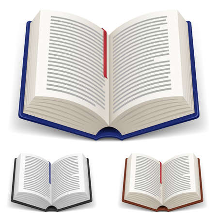 copertina libro antico: Libri aperto con Bookmark rosso e blu su sfondo bianco