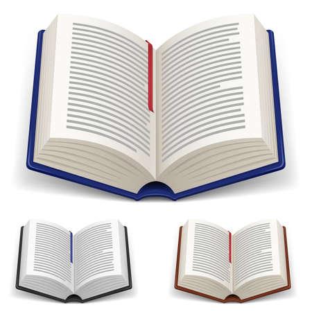 study icon: Libros abiertos con marcador rojo y azul sobre fondo blanco