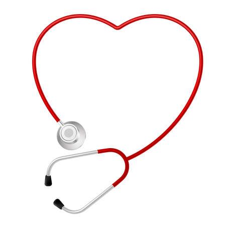 escuchar: Estetoscopio símbolo del corazón. Ilustración sobre fondo blanco