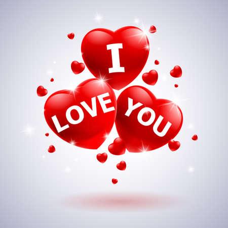 i love: I love you with heart. Illustration for wedding design