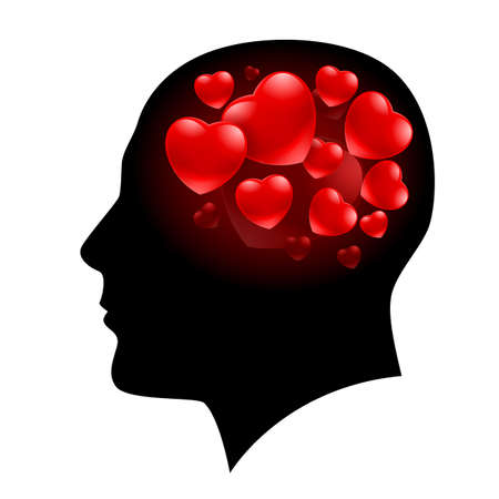 A Man with Hearts in his head and Valentine love on his mind Vector