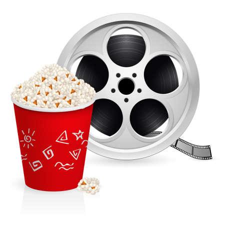 aandrijvingen: De film haspel en popcorn. Illustratie op een witte achtergrond