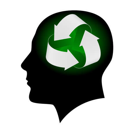 envision: Ecology symbol in human head. Illustration on white background  for design