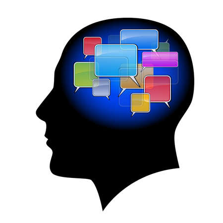 head silhouette: The man in the head with sms. Illustration on white background