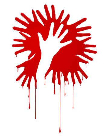 herida: Resumen manos ensangrentadas. Ilustraci�n sobre fondo blanco