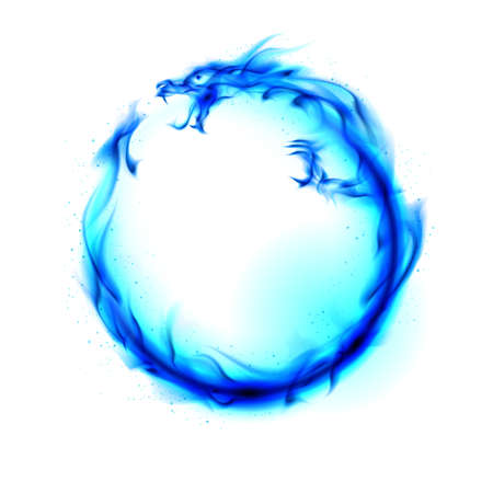 flying dragon: Abstract blue fiery dragon. Illustration on white background for design. Stock Photo