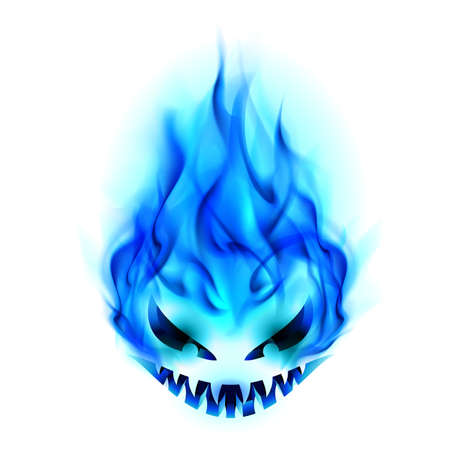 burning: Blue Evil burning Halloween symbol. Illustration on white background