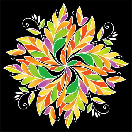 Abstract Autumn pattern. Illustration on black background Illustration