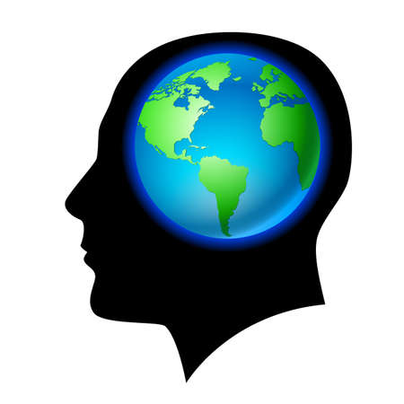 human geography: Man brain is the land. Illustration on black background