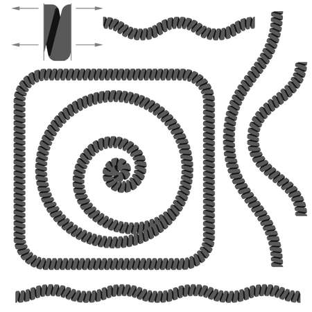 cable telefono: Cables de teléfono en espiral. Ilustración sobre fondo blanco