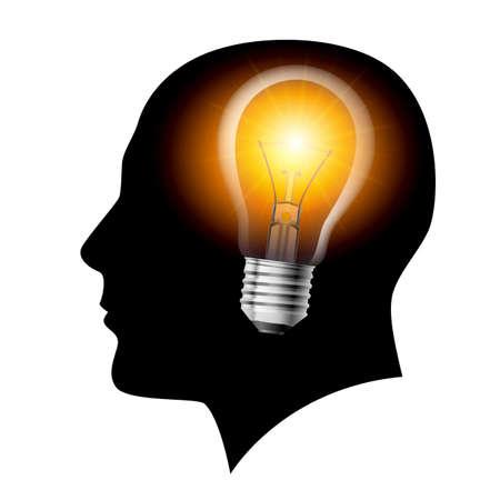 cerebro blanco y negro: Ideas luz creativa filamento de la l�mpara. Ilustraci�n en blanco