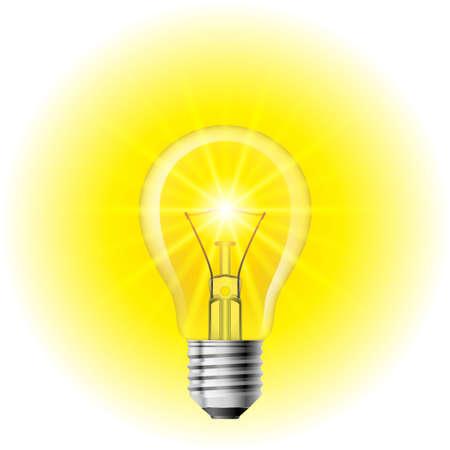 Światło żarówki na białym tle. Ilustracja do projektowania Ilustracje wektorowe