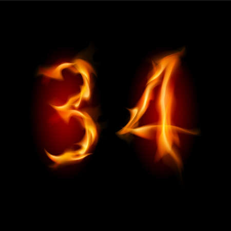 Two alphabet symbol of fire - numbers three and four. Illustration on white background Vector