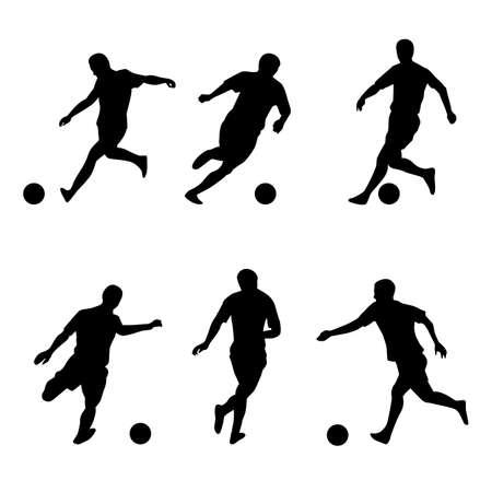 football silhouette: Calcio, calciatori sagome. Illustrazione su sfondo bianco Vettoriali