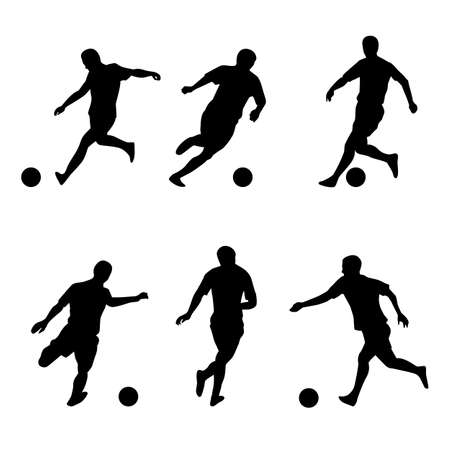 football kick: Soccer, football players silhouettes. Illustration on white background