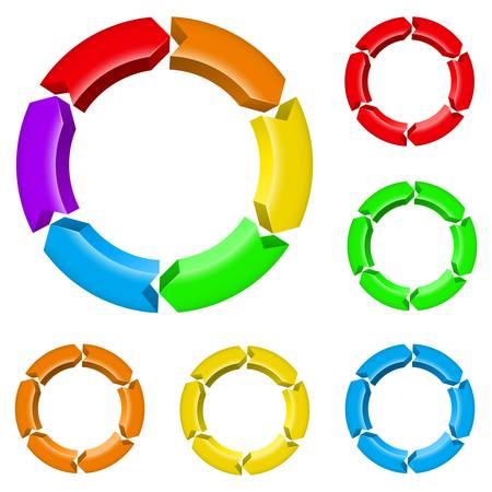 arrow circle diagram: Set number one of different colored arrow circles isolated on the white