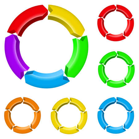 continuity: Set number two of different colored arrow circles isolated on the white
