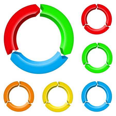 Set number four of different colored arrow circles isolated on the white Vector