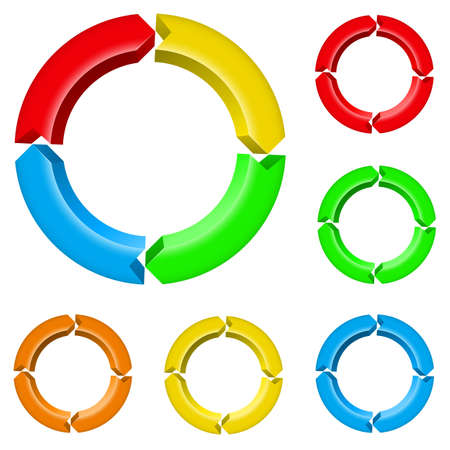 Set number three of different colored arrow circles isolated on the white Vector