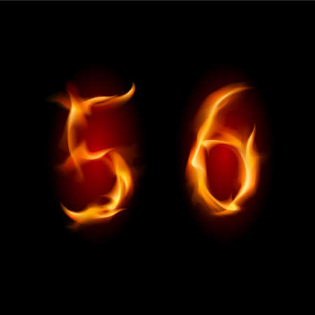Two alphabet symbol of fire - numbers  five and six. Illustration on white background Vector