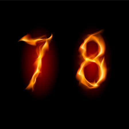 Two alphabet symbol of fire - numbers seven and eight. Illustration on white background Illustration
