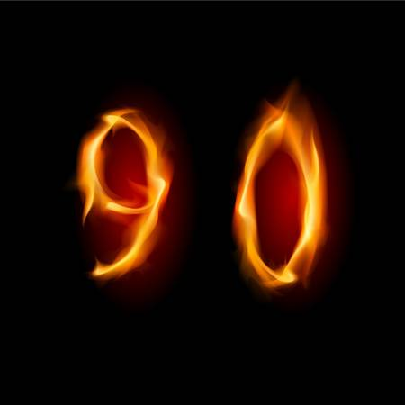 Two alphabet symbol of fire - numbers nine and zero. Illustration on white background Vector