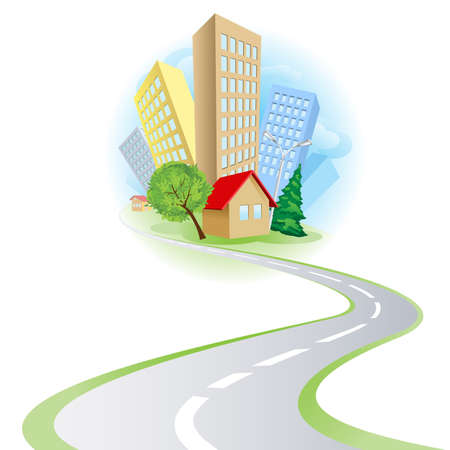 rural road: Townhouses, cottages and the road. Illustration on white background