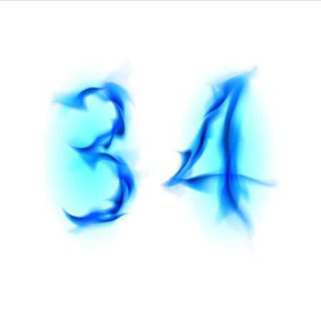 Two blue alphabet symbol of fire - numbers three and four. Illustration on white background illustration