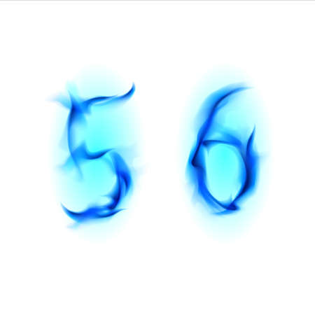 Two blue alphabet symbol of fire - numbers  five and six. Illustration on white background illustration