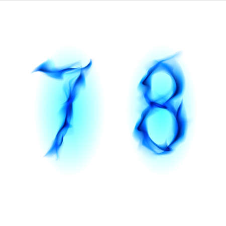 eight year old: Two blue alphabet symbol of fire - numbers seven and eight. Illustration on white background Stock Photo