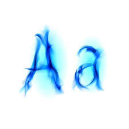flame alphabet: Blue Fiery font. Letter A. Illustration on black background