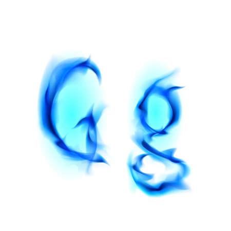 Blue Fiery font. Letter G. Illustration on black background illustration
