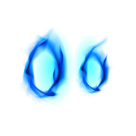 Blue Fiery font. Letter O. Illustration on black background illustration