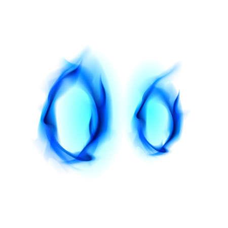 flame letters: Blue Fiery font. Letter O. Illustration on black background