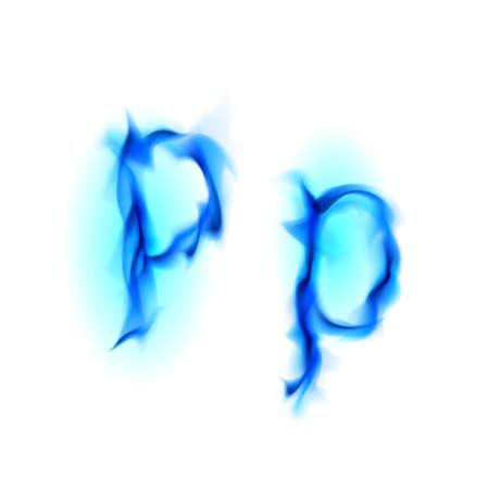 Blue Fiery font. Letter P. Illustration on black background illustration