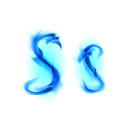 s shape: Blue Fiery font. Letter S. Illustration on black background