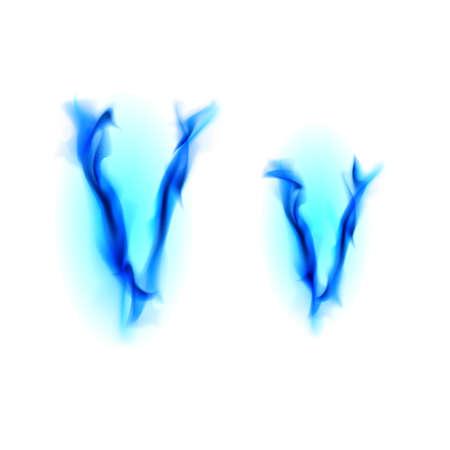 Blue Fiery font. Letter V. Illustration on black background illustration