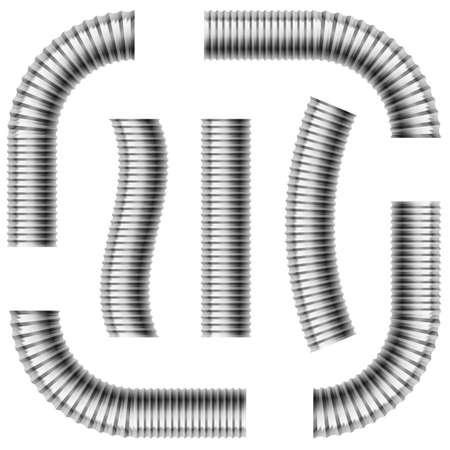 duct: Conjunto de tuber�as de drenaje corrugado grises. Ilustraci�n en blanco