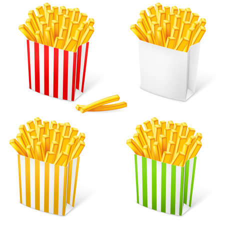French fries in a multi-colored striped packaging. Illustration on white background Vector