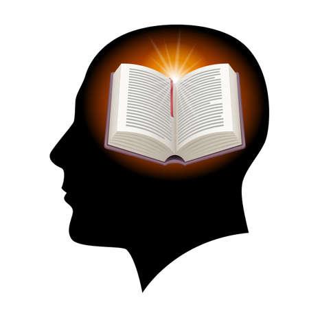 경험: 책과 남성 머리 실루엣. 화이트 그림입니다. 일러스트