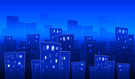 panoramic view: Abstract big city at night. Illustration in blue.