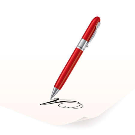 write letter: Vector image of red pen writing on paper Illustration