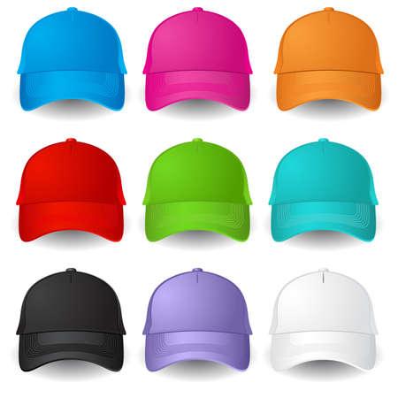 casquetes: Juego de las gorras de b�isbol. Ilustraci�n sobre fondo blanco