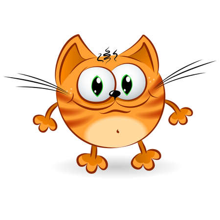 pets icon: Happy cartoon ginger cat. Illustration on white background for design